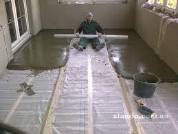 выравнивание и утепление пола цементным раствором